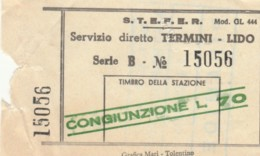 BIGLIETTO BUS STEFER TERMINI LIDO L.70  (BY256 - Europa