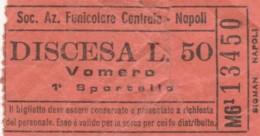 BIGLIETTO FUNICOLARE NAPOLI VOMERO DISCESA L.50 (BY264 - Biglietti Di Trasporto