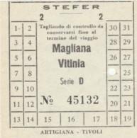 BIGLIETTO BUS STEFER MAGLIANA VITINIA (BY400 - Busse