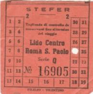 BIGLIETTO BUS STEFER LIDO CENTRO ROMA S.PAOLO (BY402 - Busse