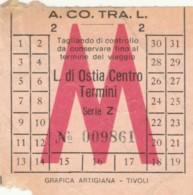 BIGLIETTO BUS ACOTRAL LIDO OSTIA-TERMINI (BY405 - Europa