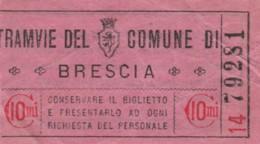 BIGLIETTO TRAMVIE COMUNE BRESCIA 10 CENT. (BY424 - Busse