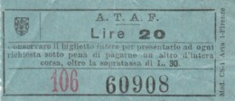 BIGLIETTO BUS ATAF FIRENZE LIRE 20 (BY434 - Busse