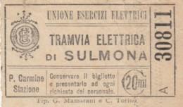 BIGLIETTO TRAMVIE ELETTRICHE DI SULMONA C.20 (BY436 - Europa