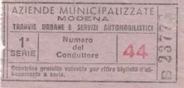 BIGLIETTO TRANVIE MODENA -SCONTRINO GRATUITO (BY480 - Busse