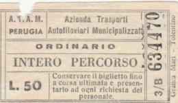 BIGLIETTO ATAM PERUGIA L.50 (BY488 - Busse