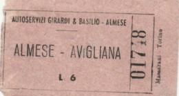 BIGLIETTO BUS ALMESE AVIGILIANA LIRE 6 (BY492 - Busse