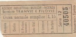 BIGLIETTO TRAMVIE VICENZA L.15 (BY497 - Busse