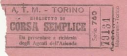 BIGLIETTO ATM TORINO (BY504 - Busse