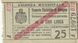 BIGLIETTO TRAMVIE ELETTRICHE BOLOGNA C.25 (BY521 - Bus