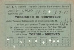 ABBONAMENTO SETTIMANALE STEP TORINO  L 10,5 1943 (BY542 - Season Ticket