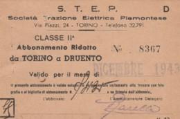 ABBONAMENTO RIDOTTO TORINO DRUENTO 1943 (BY543 - Season Ticket