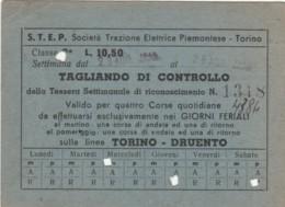 ABBONAMENTO SETTIMANALE STEP TORINO  L 10,5 1943 (BY544 - Season Ticket