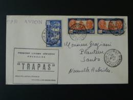 Lettre Premier Vol First Flight Cover Trapas 1ere Liaison Aérienne Nouvelle Calédonie Nouvelles Hébrides 1947 - Nouvelle-Calédonie