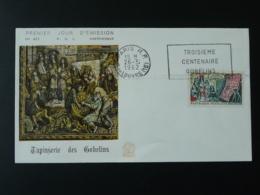 FDC Tapisserie Des Gobelins Roi Louis XIV Flamme Concordante Paris 1962 - Textile