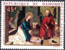 DAHOMEY, POSTA AEREA, AIRMAIL, NATALE, CHRISTMAS, 1969, 45 F., FRANCOBOLLO USATO, Mi:DY 400, Scott:DY C110, Yt:DY PA113 - Benin – Dahomey (1960-...)