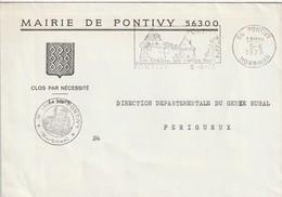"""Env. De """"Pontivy - 56, Morbihan"""" Du 05-06-1973, """"Son Château, Ses Vieilles Rues"""" En Franchise - Postmark Collection (Covers)"""
