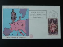FDC Empire Européen De Charlemagne Moyen Age Medieval Flamme Concordante Noyon 60 Oise 1966 - Sonstige