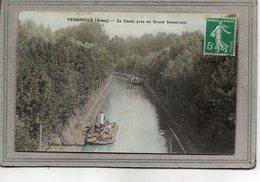 CPA - VENDHUILE (02) - Mots Clés: Canal, Chemin De Halage, écluse, Péniche Drague - 1910 - Carte Colorisée - Frankreich