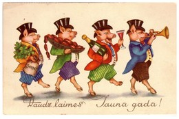 Dressed Pigs Quartet New Year Piglet Vintage Latvia Lettland 1939 PC - Cerdos