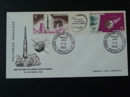 FDC Espace Space Fusée Diamant Satellite A1 Polynésie 1966 - Oceanía