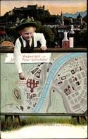 Landkarten Cp Salzburg Österreich, Junge In Salzburger Tracht, St. Peter Stiftskeller Wegweiser - Altri