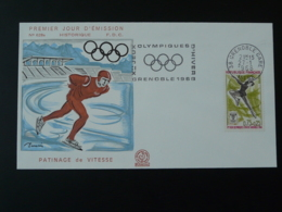 FDC Illustrée Decaris Jeux Olympiques Olympic Games Patinage Flamme Concordante Grenoble 1968 - Winter 1968: Grenoble