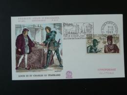 FDC Roi King Louis XI Et Charles Le Téméraire Moyen Age Medieval Flamme Concordante Dijon 1969 - Sonstige