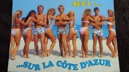 CPM PIN UP MAILLOT DE BAINS SEUL SUR LA COTE D AZUR HOMME BUSTE NU ED DELOS 1996 - Pin-Ups