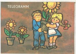 ALEMANIA DDR IMPRESO PARA TELEGRAMAS TELEGRAM FLORES FLOWER - Vegetales