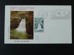 FDC Chute D'eau Waterfall Saut Du Doubs Flamme Concordante Villers Le Lac 1973 - 1970-1979