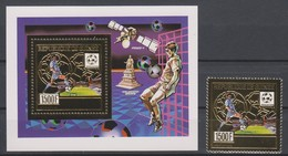 Soccer World Cup 1990 - Football - GUINEA - S/S+Stamp Gold MNH - 1990 – Italien