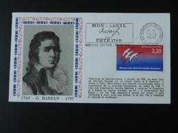 Lettre Cover Révolution Française Babeuf Franc-maçon Flamme Concordante Montreuil 93 Seine St Denis 1989 - Massoneria