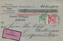 Deutsches Reich / 1898 / Nachnahme-Postkarte MiF Ex Mannheim Nach Engen, Firmenzudruck (5568) - Covers & Documents