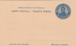 ARGENTINA TARJETA ENTERO AÑO 1908, SAN MARTIN, COLOR AZUL. GJ TAR- 46 6c. ENTIRE ENTIER -LILHU - Ganzsachen