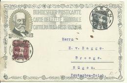 1919 Brundesfeier-Postkarte Tellknabe 7,5c + 2,5c Gelaufen Von Bern Nach Breege, Rügen - Postwaardestukken