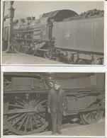 Lot 2 Cartes Photos Cheminot Devant Une Locomotive à Vapeur Du PLM Train. Carte Photo Conducteur P.L.M. - Trains