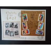 FDC Grand Format - Bloc étoiles Du Jazz, Oblit 13/7/02 Juan Les Pins - FDC