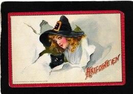 Frances Brundage Signed - Beautiful Young Girl/Halloween - Antique Halloween Postcard - Illustrators & Photographers