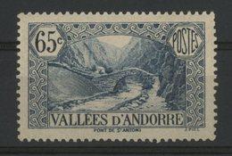 ANDORRE N° 68 Cote 42 €. 65ct Bleu. Neuf ** (MNH). TB - Nuovi