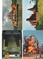 4 Cards - Myanmar - Burma - Mailamu Pagoda - Rangoon - Mingun Bell - Karaweik Barga - Pagan - Temples - Myanmar (Burma)