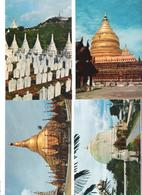 4 Cards - Myanmar - Burma - Shwedagon Pagoda Rangoon - Kaung Hmu Daw Pagoda Sagaing - Mandalay Hill - Myanmar (Burma)
