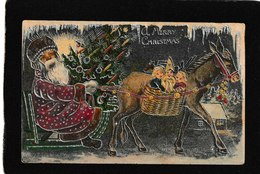 Frances Brundage - Santa's Sleigh Pulled By Reindeer 1907 - Antique Christmas Postcard - Künstlerkarten