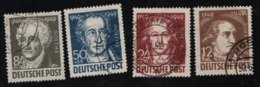 1949 20. Juli Goethe   Mi DD 235 - 38 Sn DD 10NB7 - 10 Yt DD-ZS 53- 56 Sg DD R56  - 59 Gest. O - Zona Sovietica