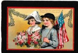 Frances Brundage - Patriotic Girl And Boy Waving US Flag 1910 - Antique Decoration Day Postcard - Illustrators & Photographers