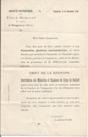 Société Patriotique Des Vieux Mobiles Du Canton De Vaugneray (Rhône) 1910. Médailles Siège Belfort - Historical Documents