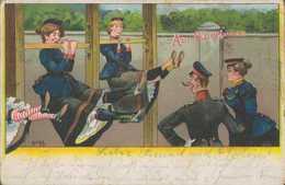Soldatinnen Am Querbaum, Giessen, Postkarte, Militär, Deutsches Reich - Weltkrieg 1914-18