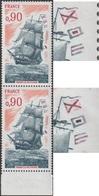 France 1975 Y&T 1862. Curiosité. Bateau-école, Frégate La Melpomène (voilier). Drapeau Au Centre Rouge (haut) Ou Noir - Stamps