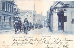 PERLEBERG Bäckerstrasse Geschäft E Lüdemann Kavallerie Blaudruck 1906 - Perleberg