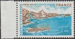 France 1976 Y&T 1903. Curiosité. Brun Baveux, Traces Verticales Sur Tout Le Timbre. Biarritz, Côte Basque - Variétés Et Curiosités